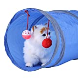 Cat Tunnel-Cat Toy Pieghevole Cat Tunnel Toys Kitten Giocando a Tube Pet Toys con Tinkle Bell e Peluche (Colore : Blu)
