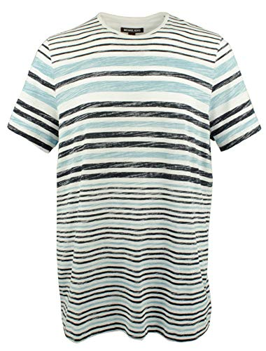 Michael Kors Mens Striped Crewneck Jersey Tee Shirt