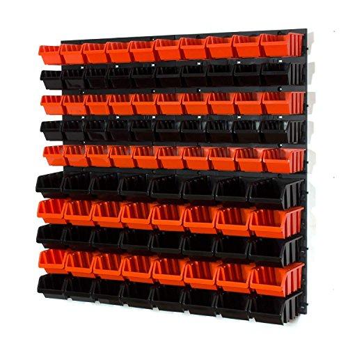 94 tlg Wandregal Lagerregal Stapelbar Gr.1, Gr.2 schwarz orange Regal Werkzeughalterung