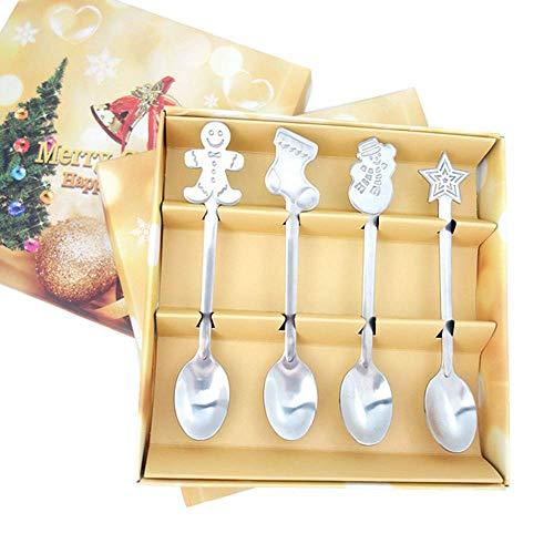 YUX 4Pcs / Set Decoraciones navideñas Cuchara de café navideña de acero inoxidable, Cuchara de helado Cuchara de té Vajilla Cuchara de postre con caja de regalo