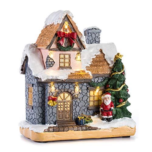 Inocudept12 CITONG - Figura decorativa navideña para casa de nieve, diseño con Papá Noel y luz LED