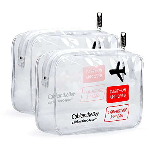 Cableinthebay TSA Approved Clear Travel Toiletry Bag(2PACK)|Clear Travel Bags|TSA Toiletry Bags|TSA Approved Makeup Bag|TSA Approved Toiletry Bag for Men's/Women's 3-1-1 Kit (2PACK)