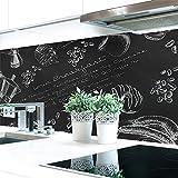 Küchenrückwand Tafelkreide Hart-PVC 0,4 mm selbstklebend - Direkt auf die Fliesen, Größe:60 x 51 cm