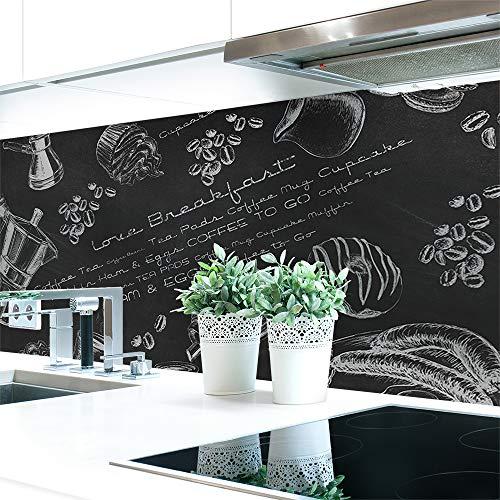 Küchenrückwand Tafelkreide Hart-PVC 0,4 mm selbstklebend - Direkt auf die Fliesen, Größe:120 x 60 cm