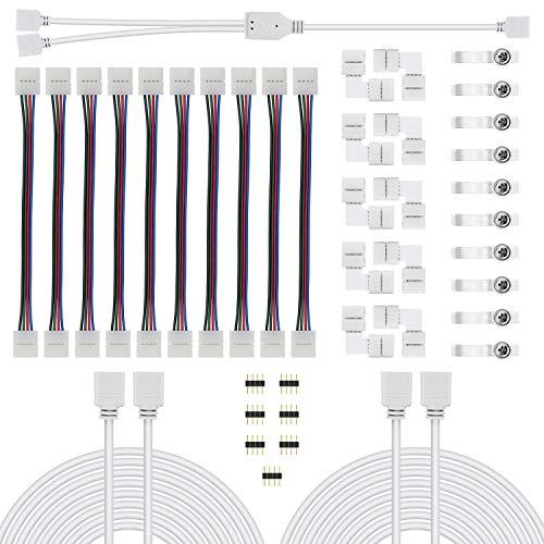 Chesbung LED Strip Verbinder, LED Stripe Verlängerung, LED Strip Eckverbinder, LED Streifen Befestigungsclips, LED Streifen Splitter Kabel, Für 10mm 4 Polig RGB 5050 LED Strip