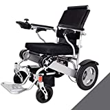 LOLRGV Aluminiumlegierung-Faltbare Elektro-Rollstuhl Tragbare leichte und Faltbare Rahmen Transport Reise Stuhl mit abnehmbarem Fußpedal -