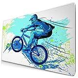 Extra Groß Spiele Mauspad mit Genähten Kanten,BMX von Sportsman Cycling Extreme Bike Freestyle Triathlon Fahrrad Fahrradgeschwindigkeit,Rutschfest Gummibasis Computer Tastatur Matte,29.5' x 15.8'