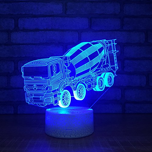 Leisurely Lazy New Mixer Truck Shape 3D Optical Illusion Lamp 7 Colors Change Touch Button and 20 Keys Remote Controller LED Table Desk Lamp for Home Bedroom Decoration