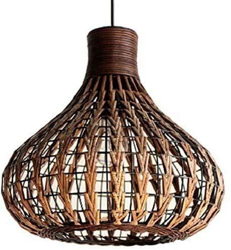 MUZIDP Vintage bamboor Creativo Personalidad Simple Colgante lámpara Mimbre ratán lámpara lámpara Tejido Droplight para Dormitorio Sala de Estar/Habitación Comedor
