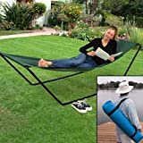 JUMBL™ Portable Foldaway Hammock With Stand And Carry Bag, Green, single