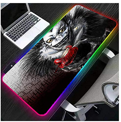 Gaming Mouse Pads Anime RGB Keyboard Pad Death Note Large Extended LED Gaming Mat Speed Smooth Surface Waterproof Non Slip Glowing Full Size Laptop Desk Mat Black Grey for Gamer,Computer XXL