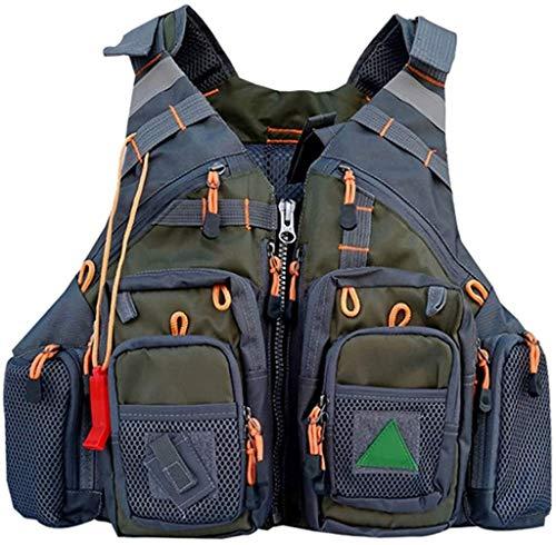 Safety vests LQ De Malla Transpirable Chaleco de Pesca, Pesca con Mosca Pescadores al Aire Libre Chaleco Hombres y Mujeres de la Chaqueta Ajustable (Color : Green, Size : One Size)