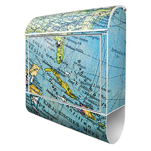 Banjado Design Briefkasten mit Motiv Globus   Stahl pulverbeschichtet mit Zeitungsrolle   Größe 39x47x14cm, 2 Schlüssel, A4 Einwurf, inkl. Montagematerial
