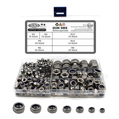 330 teiliges Set Sicherungsmuttern nach DIN 985 / ISO 10511 Standard niedrige Form Edelstahl A2 V2A selbstsichernde Sechskantmuttern Stoppmutter Edelstahlmutter Größen M3 M4 M5 M6 M8 M10 M12
