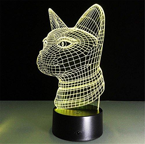 Veilleuses Illusions Optiques CAT lampe de bureau 3d 7 couleurs Changement tactile interrupteur à distance Tableau de commande LED Night Light Lighting Décoration Accessoires pour la maison