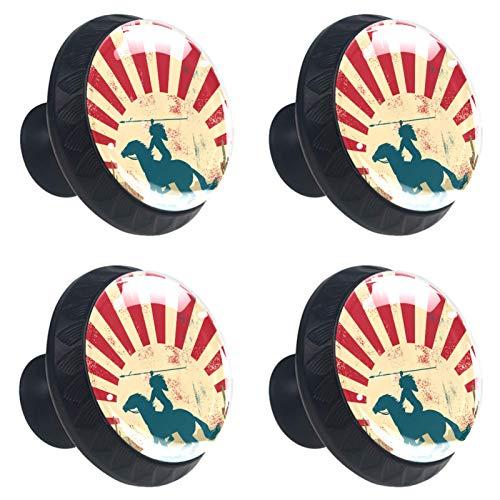 Perillas redondas para aparador (4 piezas) – Colorido decorativo floral cajón manija decoración del hogar hardware perillas vintage étnico indio tiro con arco estampado de caballo