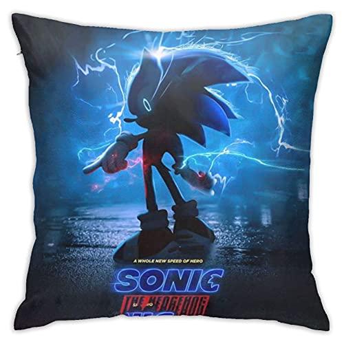 YSJSPFV Anime Sonic The Hedgehog Pillowcase, 18x18 Inch Home Living Room Sofa Car Seat Decoration Pillowcase, Soft Velvet Square Pillow, Room Decoration