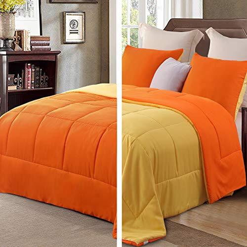 Exclusivo Mezcla Lightweight Reversible 2-Piece Comforter Set for All Seasons, Down Alternative Comforter with 1 Pillow Sham, Twin Size, Orange/Yellow