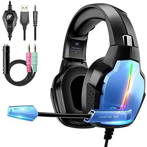 Gaming Headset PS4, Deep Bass Surround Sound Stereo Xbox One Headset, Beexcellent Gaming Headset with Microphone, LED Light & Noise Isolation, PS4 Gamer Headset Compatible with PC, PS4, Xbox One Accessories Headsets