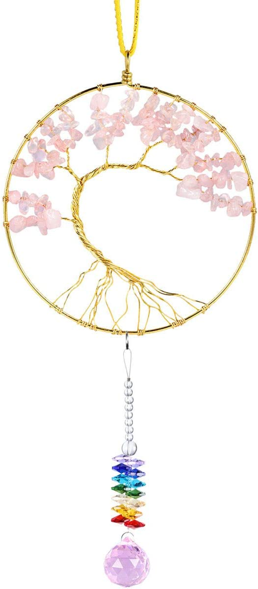mookaitedecor Rose Quartz Crystal Tree of Life Hanging Ornament, Sun Catcher with Crystal Ball Prism for Wall Window Home Decor 17-18 Inch