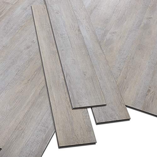 ARTENS - PVC Bodenbelag - Click Vinylboden - Rohholz-Effekt - Grau/Beige - 1,1m²/5 Dielen