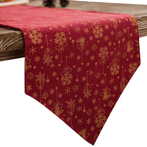 Yuncai Patrón de Estilo Familiar de Navidad Largo Rojo Camino de Mesa para Jardín Cena, Fiesta y Cumpleaños (Rojo, 180 * 30cm)