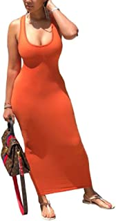 MU2M Women Open Back Sleeveless Scoop Neck Sexy Bodycon Solid Color Long Dress