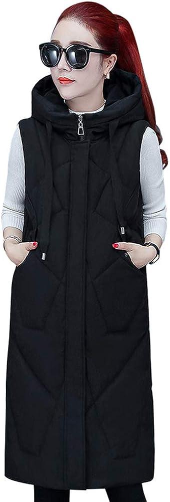 Yudesun Sleeveless Down Vest Quilted Gilet Women Warm Hooded Long Coats Jacket
