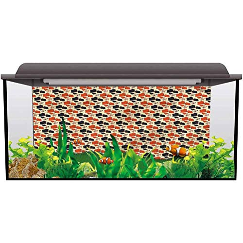 bybyhome Under Sea Fish Aquarium Floral,Orange Blue Flowers Petals PVC Adhesive Static Cling Wallpaper Sticker L36 X H16 Inch