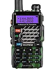 Baofeng Plus 2m/70cm walkie Talkie portatil Radio Aficionado, Doble Banda VHF/UHF y 128 Canales de Memoria (Camuflaje)