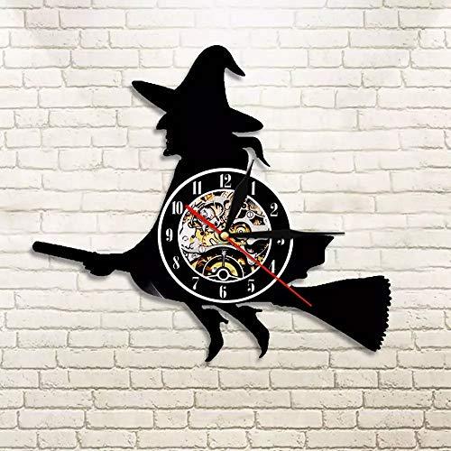 NIUYGB Witch Stick Halloween Wandkunst Wanduhr Happy Halloween Vinyl Schallplatte Wanduhr Urlaub Wanddekoration Wanduhr