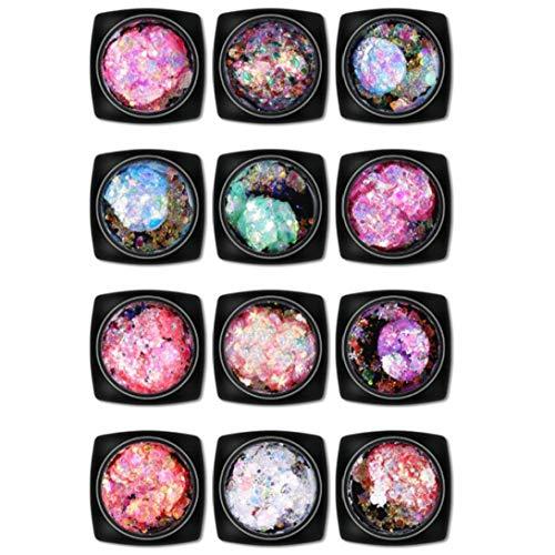 Nails Art Déco 12 Pièces/Set Nail Paillettes Stickers Giltters Coloré Ongles Avec Rangement Organisateur Box Femmes Ongle Décor