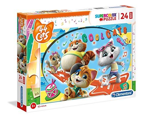 Clementoni- Supercolor Puzzle-44 Gatti-24 Maxi Pezzi, Multicolore, 28512