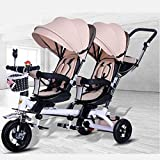 CAKUS Double Baby Stroller Children's Tricycle Twin Trolley Bicycle Baby Portable 1-3-6 Years Old Large Baby Carriage with Folding Pedal Push Handle Music Light and Umbrella (Khaki)