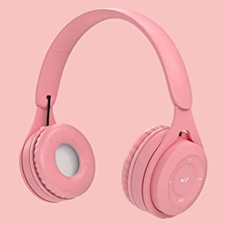 QQX Foldable Bluetooth Headphones,Stereo Wireless Bluetooth Headphones Over Ear with Microphone and Volume Control, Wired Headphones for PC/Cell Phones/TV/Ipad (Blue) (Color : Pink)