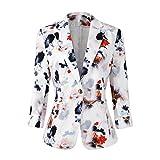 Womens 3/4 Sleeve Lightweight Office Work Suit Jacket Boyfriend Blazer (1905 White, S)