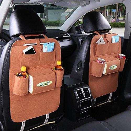 Meres Meres sac en feutre arrière auto sac de rangement de voyage - Organiseur de siège arrière pour voiture multi-poche Accessoires de voiture pour stocker des livres, Ipad, téléphone et parapluie (marron)