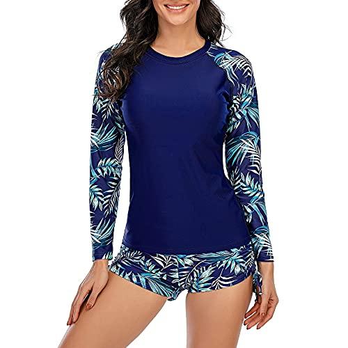 Zando Womens Swimsuits Long Sleeve Rashguard Shirt Two Piece Swimsuits Athletic Tankini Set Bathing Suit Blue Leaf 4-6