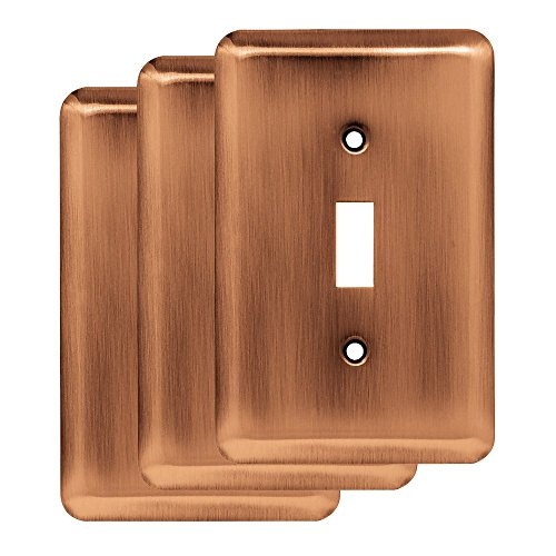 Franklin Brass W10245V-AC-R Stamped Round Single Toggle Wall Switch Plate/Cover, 3 Pack, Antique Copper, 3 Count