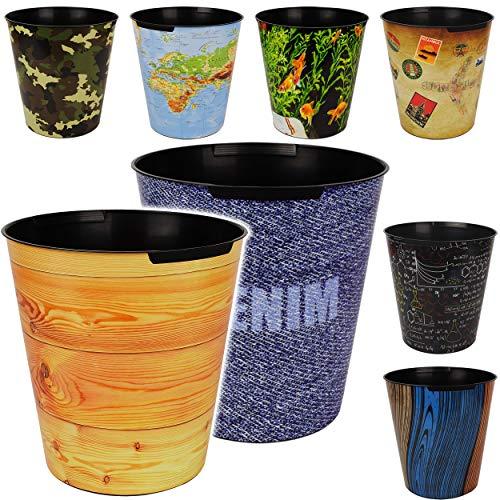 4 Stück _ Papierkörbe / Behälter - Motiv-Mix - Struktur - Welt & Tiere - 10 Liter - wasserdicht - aus Kunststoff - Ø 28 cm - großer Mülleimer / Eimer - Abfall..
