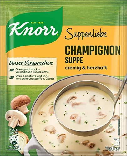 Knorr Suppenliebe Champignon Suppe cremig und herzhaft , 3 Teller, 18er Pack (18 x 58 g)