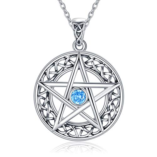WINNICACA Pentagram Necklaces Sterling Silver Celtic Good Luck Irish Jewelry Oxidized Celtic Knot Pentacle Pendant Gifts Jewelry for Women Men Teen Birthday