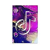 Ghychk Pop Social Media Tik Tok Póster con logotipo de las pinturas artísticas de moda, impresión decorativa para dormitorio, hogar, oficina, listo para colgar, 50 x 75 cm