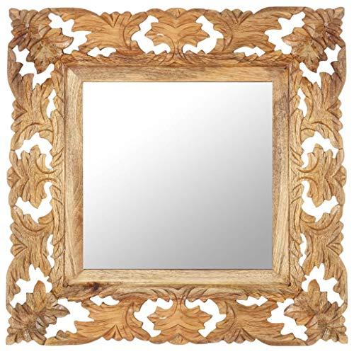 Dioche Specchio decorativo in legno, stile vintage, da parete, 50 x 50 cm, realizzato a mano, in legno massiccio di mango, marrone