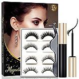 Magnetic Eyelashes With Eyeliner, Magnetic Eyeliner And Lashes, Magnetic Eyelash, Magnetic False Lashes with Magnetic Eyeliners Kit Easy To Wear Reazeal (4-Pairs)