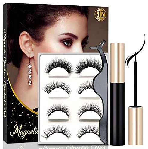 Magnetic Eyelashes Kit With Mirror Case Strong Magnetic Waterproof Magnetic Eyeliner Natural Look Different Lengths&Densities False Lashes No Glue Needed (4-Pairs)