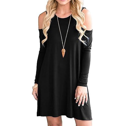 baf8698c07fa PCEAIIH Women s Summer Cold Shoulder Tunic Top Swing T-Shirt Loose Dress  with Pockets