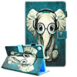 Samsung Galaxy Tab A 10.1 Case, Fvimi Full Body Shockproof Protective PU Leather Folio Flip Stand Wallet Case for Galaxy Tab A 10.1 Inch 2019 Tablet Model SM-T510 / SM-T515, Glasses Elephant