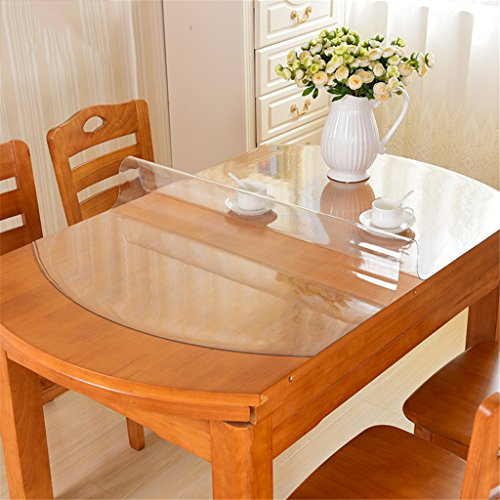 LY-KLD Oval Tablecloths, PVC Table Top Protector For Kitchen Dining Room Wood Furniture Protective Cover/Desk Pads- Multi Size,Thick1.5Mm,Elliptical76*120Cm