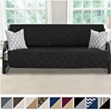 MIGHTY MONKEY Premium Reversible Futon Slipcover, Seat Width to 70 Inch Furniture Protector, 2 Inch Elastic Strap, Washable Slip Cover for Futons, Protects from Kids, Dogs, Cats, Futon, Black Gray